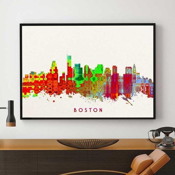 Boston Skyline Art Boston Print Home Art Decor By Pointdot