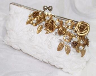 Bridal Clutch, Bridesmaids Clutch, Evening Clutch, Evening Bag, Lace Clutch, Wedding bag, Wedding Clutch, gold clutch