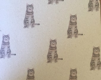Cat Wrapping Paper, Hand Drawn Tabby Cat Gift Wrap Recycled Paper, Illustrated Pet Wrapping Paper,  A3- 3 Sheets