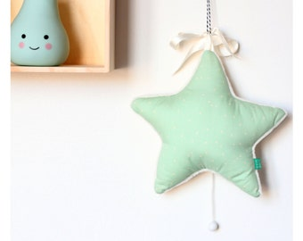 Baby music box star mobile - minty dots
