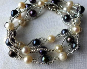 Pearl Necklace - black and white fresh water pearls