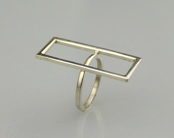 Rectangle minimal silver ring , abstract silver ring , modern ring, ring, silver ring, gift for her, jewelry, women, summer, dainty