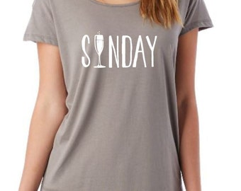 Sunday Champagne ladies Alternative Apparel Super Soft t-shirt Comfy flattering in nickel grey Ready To Ship