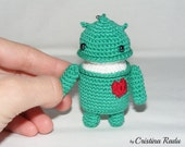 Android robot toy with red heart, Cute keychain, Miniature toy, Amigurumi doll, Stuffed  crochet keychain robot
