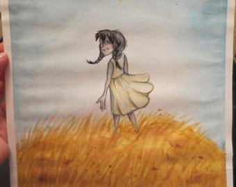ORIGINAL ART Watercolor girl in field
