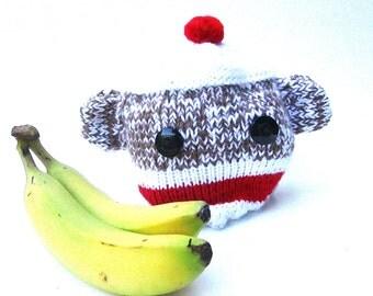 Cheeky Sock Monkey Handknit Hat