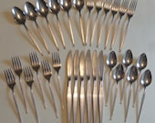 Vintage West Bend Shadow Weave Stainless Flatware Six 5 piece Place Settings Dinner and Salad Forks Teaspoons and Soup Spoons Knives