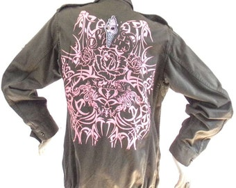 Military Jacket Kustom Tattoo 4U flocked Size S roses