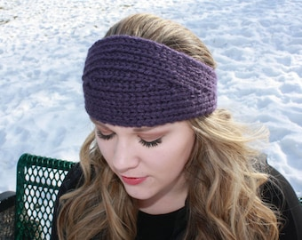 Tapered knit headband, earwarmer, adult