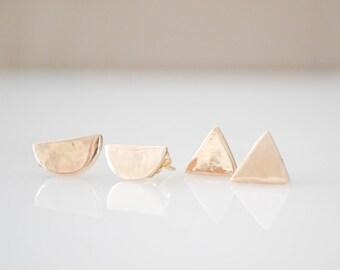 Tiny Minimal Earrings | Tiny Stud Earrings | Tiny Gold Earrings | Geometric Stud Earrings | Tiny Post Earrings | Small Stud Earrings