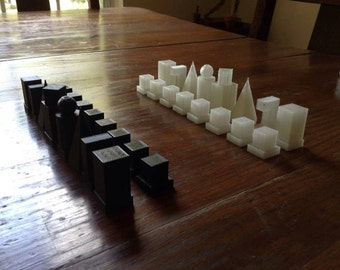 3d printed bauhaus model i chess set