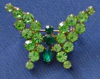 1.75 x 1.25 Swarovski Brooch, hinged rhinestone butterfly, emerald green, darker green stones in center