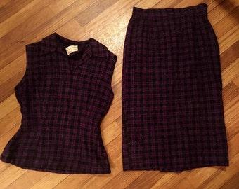 80's Purple Tweed Peplum Top & Pencil Skirt Set Sz XS
