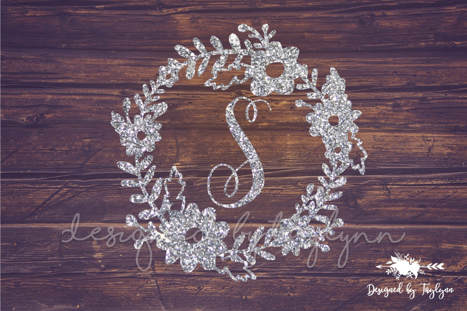 Glitter Flower Border Decal Floral Monogram Decal Decals
