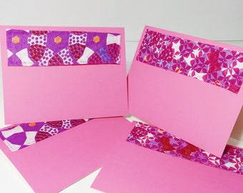 Pink and Purple Greeting Card with Envelope // Pretty Printed Blank Card // Pink Print Blank Greeting Card