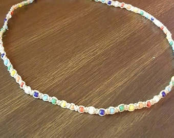 Rainbow Beaded Hemp Necklace