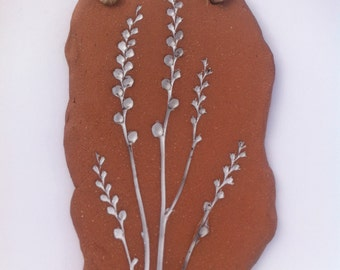 Handmade Ceramic Wall Plaque Natural Flower Design
