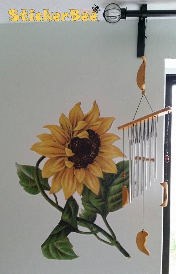 Vintage Sunflower Wall Decor : Vintage looking sunflower kitchen wall sticker right facing