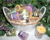 Votive Candle Gift Basket-Herbal