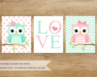 Nursery Print. Owl Print. Nursery Printable. Nursery Decor. Nursery Animals. Baby Girl Nursery Decor. Mint Pink Nursery Art