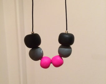 Hot Pink and Black Polymer Clay Necklace