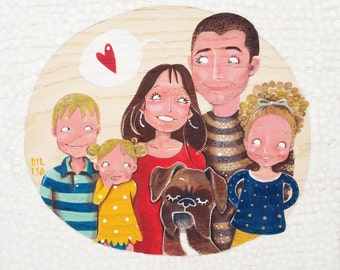 Personalized family portrait of 6 subjects,family illustration, family picture, custom family likeness
