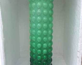 1970s Japanese Best Art Glass green and white cased glass vase