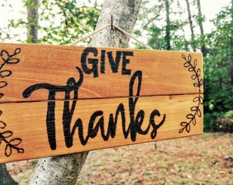 Give Thanks wood burned wall hanging