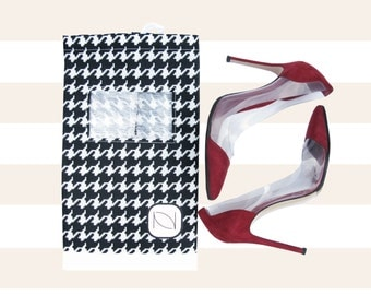See Through Shoe Bag with Drawstring - Houndstooth (The Bagette)
