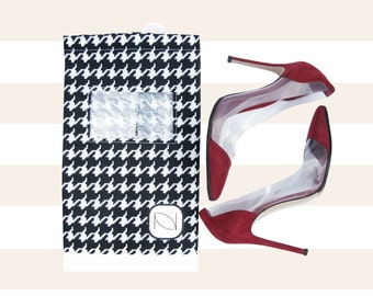 Two (2) See Through Shoe Bag with Drawstring - Houndstooth
