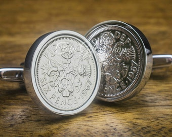 1967 Lucky Sixpence Coin Cufflinks 50th birthday gift