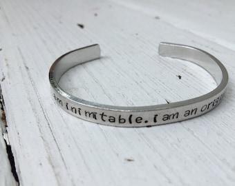 Custom, Personalized Silver Bracelet, Handstamped