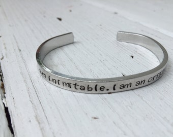 YOUR PHRASE HERE - Custom Bracelet - Personalized Silver Bracelet - Christmas Gift - Handstamped