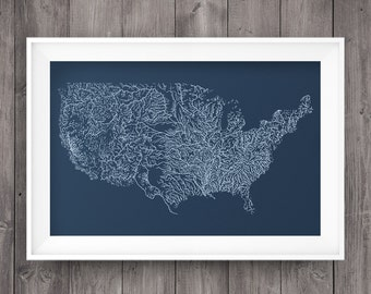 U.S. Rivers Screen Print