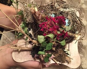 Wedding ring bearer nest, ring bearer box, ring bearer nest, nest and eggs, Vintage ring bearer nest, rustic ring bearer nest,