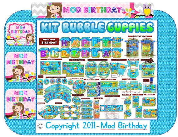 Bubble Guppies Kit Instant Download Printable Full By Modbirthday