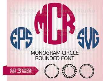 Circle Monogram Font SVG, DXF, EPS - Cutting Files For Silhouette, Cricut and More - Alphabet Font -  Three Free Circle Frames Included