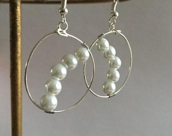 Hoop Earrings Faux Pearl