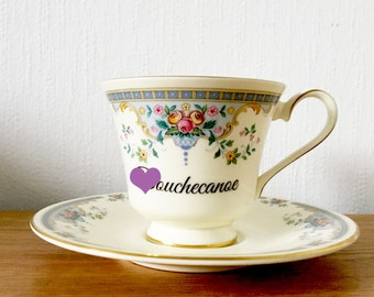 D*uchecanoe | Custom Made To Order  Swear Teacup and Saucer | Funny Rude Insult Obscenity Profanity | Unique Gift Idea
