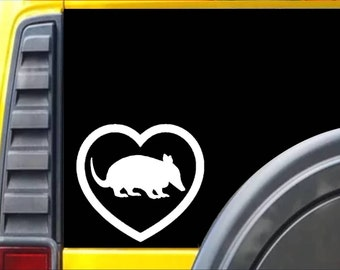 Armadillo Big Heart Decal Sticker *J556*