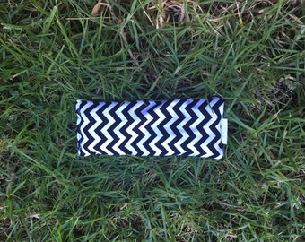 Organic Eye Pillow - Black and White Chevron