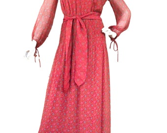 1970s Vintage Silk Indian Made Hardy Amies Maxi Dress
