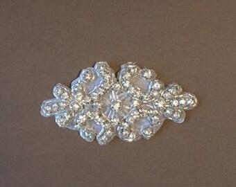 Applique, Silver rhinestone applique, weddings, head band supplies, bridal sashes, glitz appliques, rhinestones