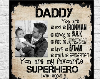 Personalised Photo Plaque  Dad Daddy Step Dad Daddy Brother Uncle Son Grandad Grandpa Christmas Father's Day Superhero Birthday Gift