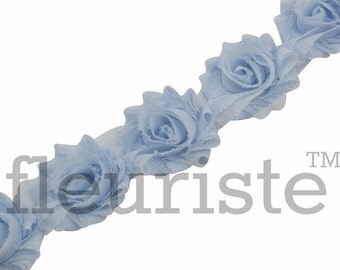 BABY BLUE PETITE Shabby Rose Trim, Petite Shabby Trim, Petite Shabby, Shabby Flower Trim, Shabby Flower, Shabby wholesale, Shabby by yard