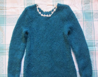 Hand knit elegant tuorquose/ocean blue woman sweater for winter/autumn