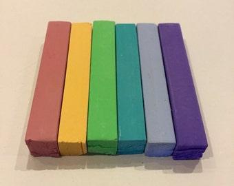 Pastel Rainbow 6 Pack Hair Chalk - Salon Grade - Temporary - Non-Toxic