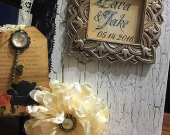 vintage wedding guest book, vintage wedding, shabby chic wedding, old guest book, guest book alternative, antique guest book, unique guest b