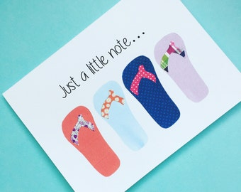 "Flip Flops ""Just a Little Note"" Notecard & Envelope Set, Set of 10"