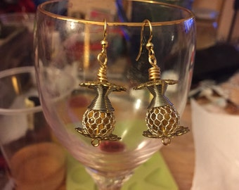 Silver and gold filigree earrings